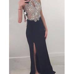 Jersey Sleeveless Sheath/Column Prom Dresses Halter Beading Floor-Length