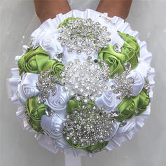 """Bridal Bouquets/Bridesmaid Bouquets/Flower Gifts Round Wedding/Party/Casual Satin 7.09""""(Approx.18cm) Wedding Flowers"""