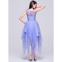 Motifs appliqués Dentelle Col rond Tulle Forme Princesse Robes de soirée étudiante (022214040)