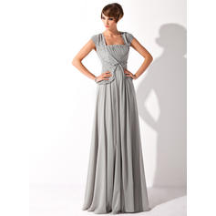 A-Line/Princess Square Neckline Chiffon Short Sleeves Floor-Length Ruffle Beading Sequins Mother of the Bride Dresses