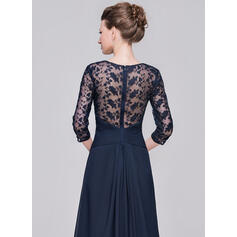 Vestidos princesa/ Formato A Decote V Longos Tecido de seda Renda Vestido para a mãe da noiva com Pregueado (008058419)