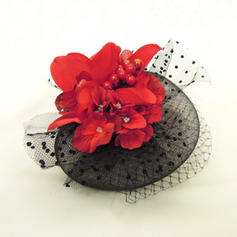 Net Yarn/Imitation Pearls Fascinators Elegant Ladies' Clip Hats