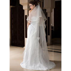 Chapel Bridal Veils Tulle One-tier Drop Veil With Ribbon Edge Wedding Veils