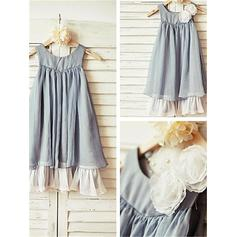 A-Line/Princess Scoop Neck Tea-length With Ruffles Chiffon Flower Girl Dresses (010211937)