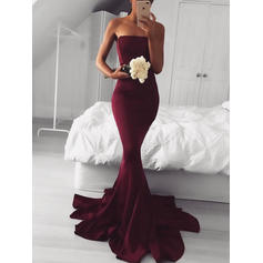 Satin Sleeveless Trumpet/Mermaid Prom Dresses Strapless Sweep Train