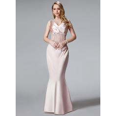 Trumpet/Mermaid V-neck Charmeuse Sleeveless Floor-Length Ruffle Lace Sequins Mother of the Bride Dresses