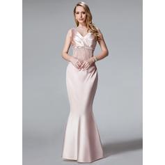 Trompete/Meerjungfrau-Linie V-Ausschnitt Charmeuse Ärmellos Bodenlang Rüschen Spitze Pailletten Kleider für die Brautmutter