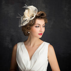 Feather/Net Yarn/Tulle/Linen With Feather Fascinators Classic Ladies' Hats