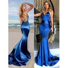 Charmeuse Sleeveless Trumpet/Mermaid Prom Dresses V-neck Ruffle Court Train