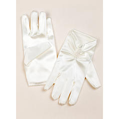 Elastic Satin Children's Gloves Wrist Length Flower Girl Gloves Fingertips Gloves