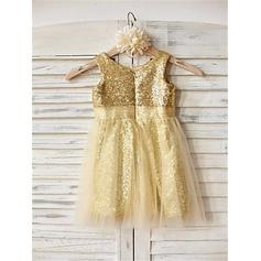 Escote redondo Corte A/Princesa Vestidos para niña de arras Tul/Con lentejuelas Plisado Sin mangas Hasta la tibia (010211965)