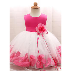 A-Line/Princess Scoop Neck Floor-length Tulle Christening Gowns With Flower(s) (2001218014)