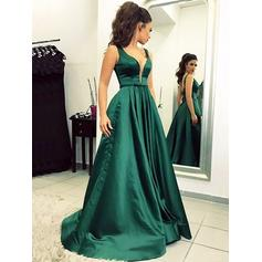 A-Line/Princess V-neck Floor-Length Prom Dresses With Ruffle (018217353)