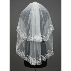 Elbow Bridal Veils Tulle Two-tier Oval With Lace Applique Edge Wedding Veils