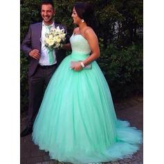 Ball-Gown Sweetheart Sweep Train Prom Dresses With Beading