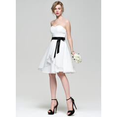 A-Line/Princess Sweetheart Knee-Length Chiffon Bridesmaid Dress With Bow(s) Cascading Ruffles