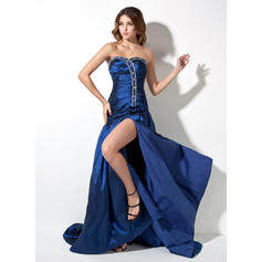 A-Line/Princess Sweetheart Court Train Prom Dresses With Ruffle Beading Split Front (018002492)