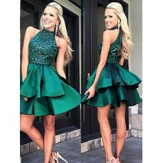 A-Line/Princess High Neck Short/Mini Satin Homecoming Dresses With Lace