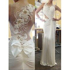 Jersey Sleeveless Trumpet/Mermaid Prom Dresses Scoop Neck Ruffle Beading Bow(s) Sweep Train