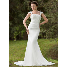 Trumpet/Mermaid Chiffon Sleeveless Square Court Train Wedding Dresses (002001702)
