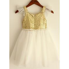 Flatteur Bretelles Forme Princesse Robes de demoiselle d'honneur - fillette Longueur genou Tulle/Pailleté Manches courtes (010196726)