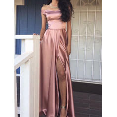 Charmeuse Sleeveless A-Line/Princess Prom Dresses Off-the-Shoulder Split Front Floor-Length