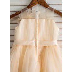Corte A/Princesa Hasta la rodilla Vestidos de Niña Florista - Tul Sin mangas Escote redondo con Flores (010093192)