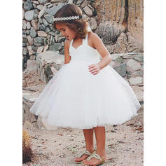 Sexy Knee-length A-Line/Princess Flower Girl Dresses Halter Tulle/Lace Sleeveless