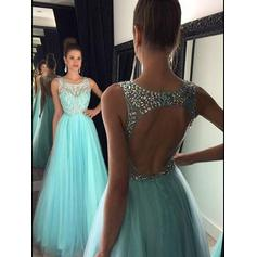 Scoop Neck A-Line/Princess Tulle Sleeveless Glamorous Prom Dresses