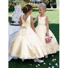 2018 New Square Neckline Ball Gown Flower Girl Dresses Ankle-length Satin Sleeveless