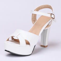 Women's Peep Toe Sandals Chunky Heel Leatherette With Buckle Wedding Shoes