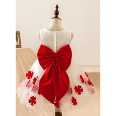 Forme Princesse Longueur genou Robes à Fleurs pour Filles - Satiné/Dentelle Sans manches Col rond avec Dentelle/Fleur(s)/À ruban(s) (010103705)
