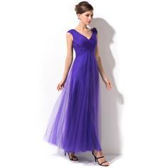 Forme Princesse Tulle Sans manches Col V Longueur cheville Fermeture éclair Robes mère de la mariée (008026215)