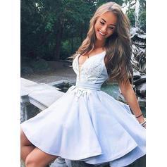 Flattering Homecoming Dresses A-Line/Princess Short/Mini V-neck Sleeveless