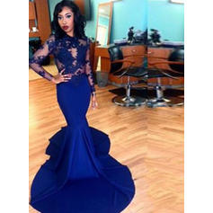 Trumpet/Mermaid Satin Prom Dresses Modern Court Train Scoop Neck Long Sleeves (018217247)