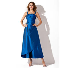 A-Line/Princess Taffeta Bridesmaid Dresses Ruffle Square Neckline Sleeveless Ankle-Length