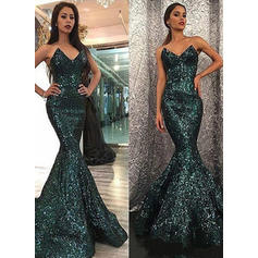 Sexy Sequined Evening Dresses Trumpet/Mermaid Sweep Train Sweetheart Sleeveless