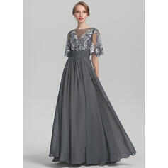 A-Line/Princess Scoop Neck Floor-Length Chiffon Sequined Evening Dress With Ruffle (017144984)