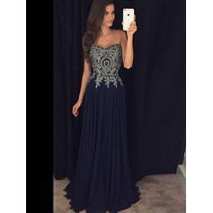 Chiffon Sleeveless A-Line/Princess Prom Dresses Sweetheart Appliques Lace Floor-Length