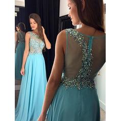 A-Line/Princess Floor-Length Chiffon Evening Dresses With Beading Sequins