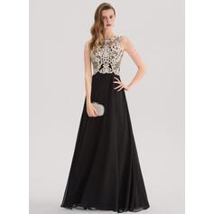 Vestidos princesa/ Formato A Decote redondo Longos Tecido de seda Vestido de festa com Beading lantejoulas