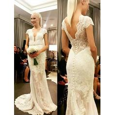 Beautiful Sweep Train Sheath/Column Wedding Dresses V-neck Lace Short Sleeves