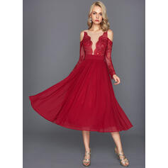 A-Line Scoop Neck Tea-Length Jersey Cocktail Dress With Ruffle (016108745)
