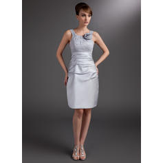 Sheath/Column Scoop Neck Satin Sleeveless Knee-Length Ruffle Flower(s) Mother of the Bride Dresses