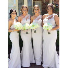 Lace Jersey Sleeveless Trumpet/Mermaid Bridesmaid Dresses One-Shoulder Sweep Train