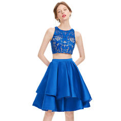 A-Line/Princess Scoop Neck Knee-Length Satin Homecoming Dresses