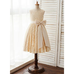 Vestidos princesa/ Formato A Coquetel Vestidos de Menina das Flores - Cetim/Renda Sem magas Decote redondo com Curvado