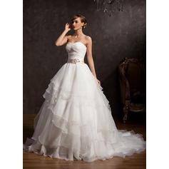 cetim vestidos de noiva com mangas