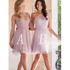 Tulle Sleeveless A-Line/Princess Bridesmaid Dresses Sweetheart Ruffle Short/Mini (007211686)