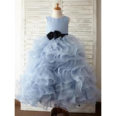 Chic Floor-length A-Line/Princess Flower Girl Dresses Scoop Neck Organza/Satin Sleeveless